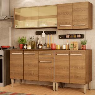 Cozinha Completa Madesa Emilly Drive com Balcão e Armário Aéreo Reflex