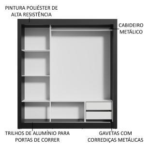 Guarda-Roupa Casal Madesa Lyon 3 Portas de Correr com Espelhos 2 Gavetas - Preto/Carvalho