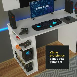 Mesa para Computador Gamer Madesa 9409 e Painel para TV até 58 Polegadas - Branco