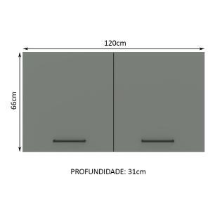 Armário Aéreo Madesa Agata 120 cm 2 Portas - Rustic/Cinza
