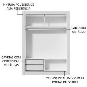 Guarda-Roupa Solteiro Madesa Dallas 2 Portas de Correr 2 Gavetas - Branco/Carvalho