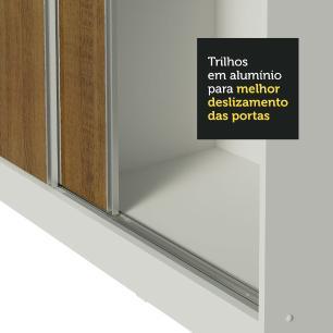 Guarda Roupa Casal 100% MDF Madesa Zurique 3 Portas de Correr - Branco/Rustic