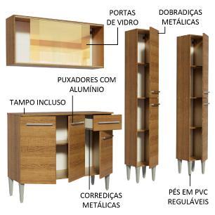 Cozinha Completa Madesa Emilly Voice com Armário Vidro Reflex, Balcão e Paneleiros