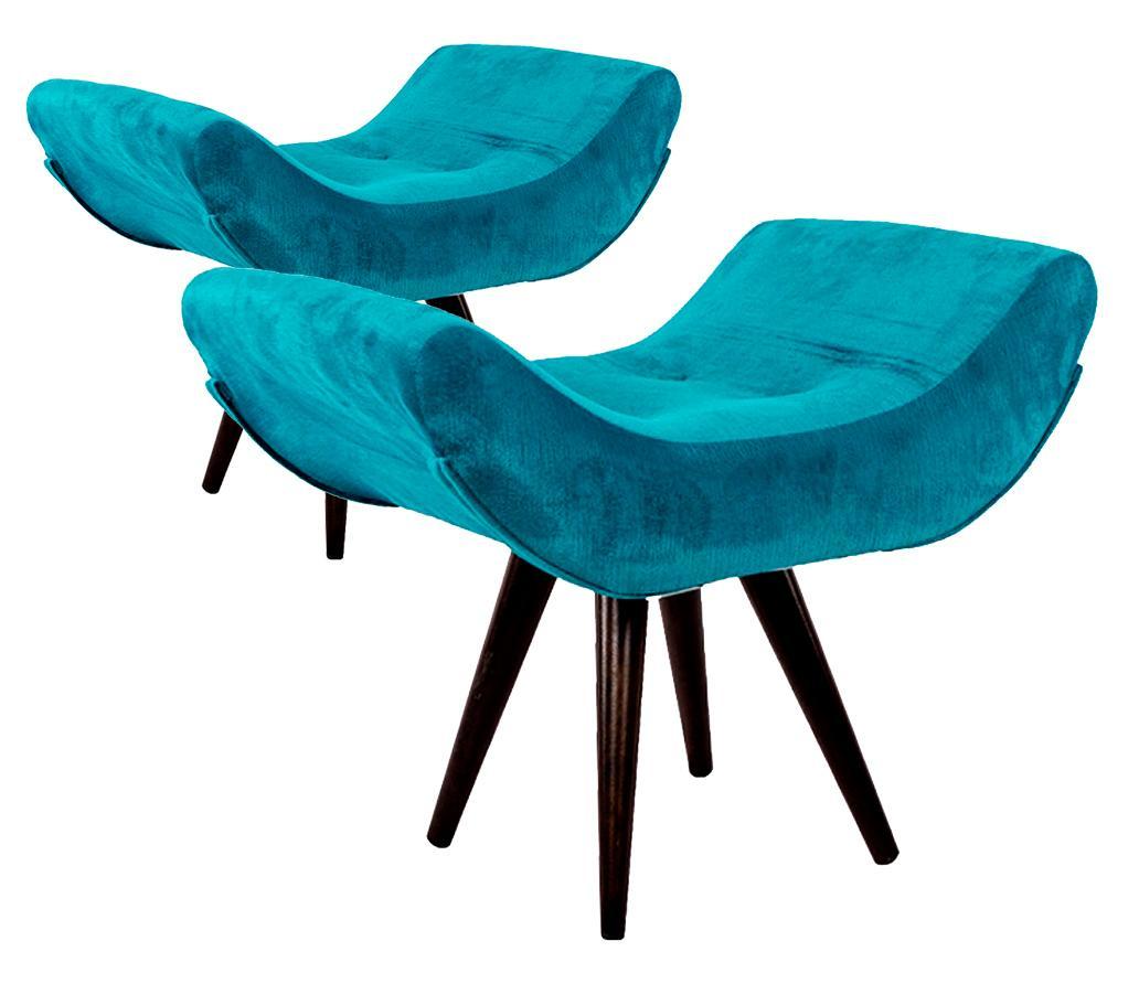 Kit 2 Puffs Decorativo Isabella Suede Azul Turquesa Pés Palito Imbuia Madeira