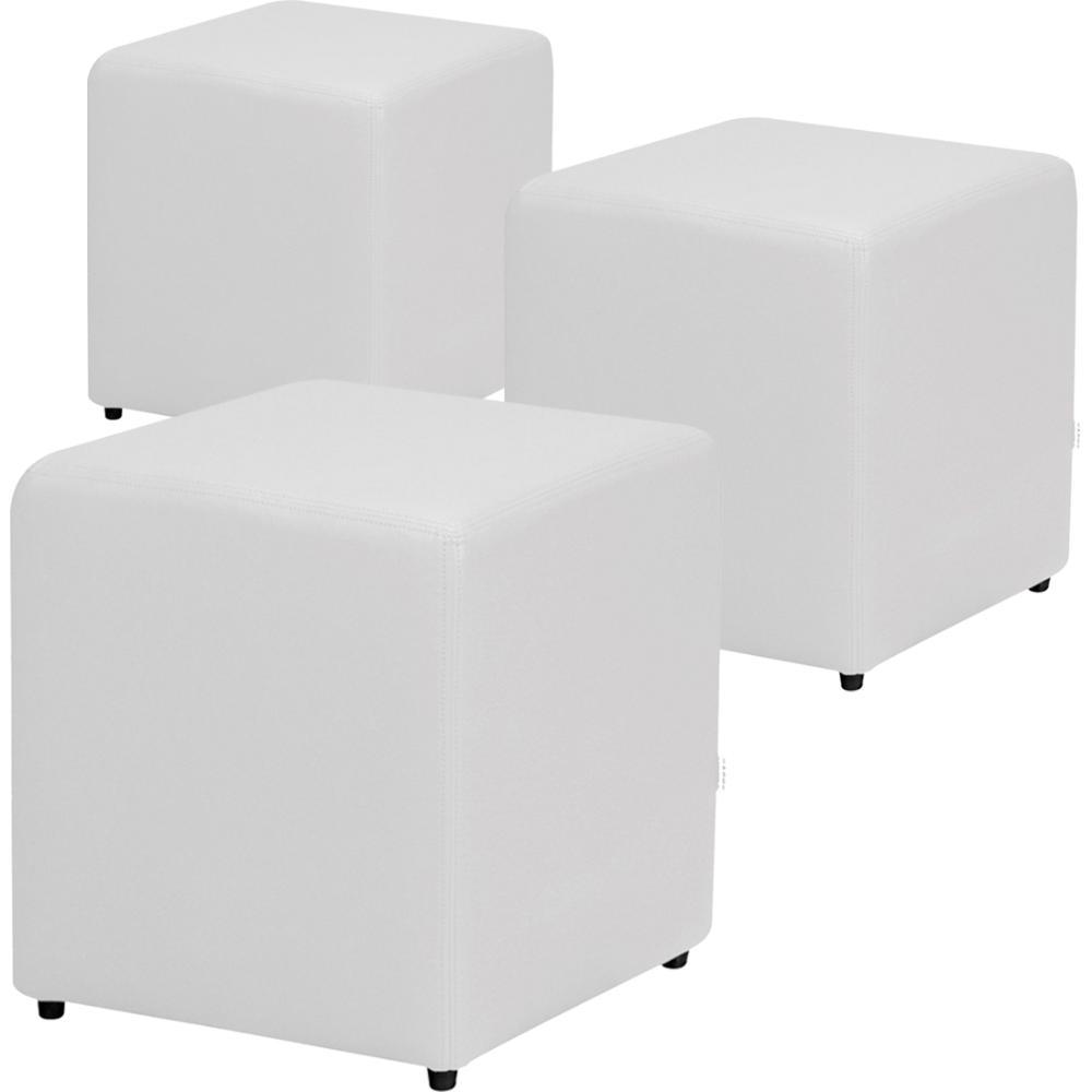 Kit 3 Puff Decorativo Quadrado Corino Branco