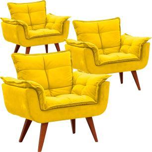Kit 3 Poltronas Decorativa Opalla Suede Amarelo Pes Palito