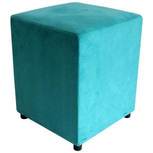 Kit 2 Puffs Decorativos Quadrado Suede Azul Turquesa