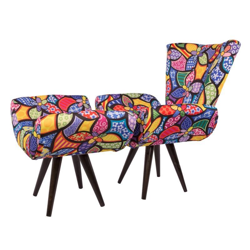 Kit Poltrona e Puff Decorativo Isabella Clássica 40156