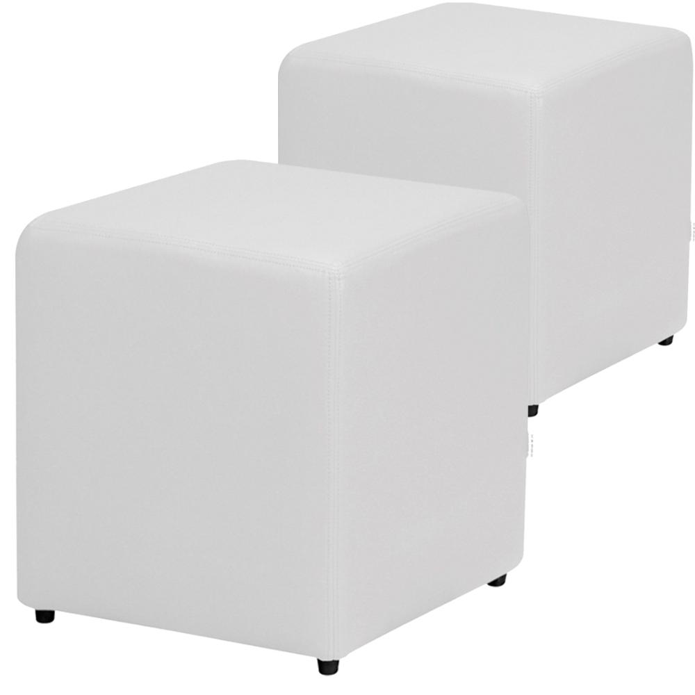 Kit 2 Puff Decorativo Quadrado Corino Branco