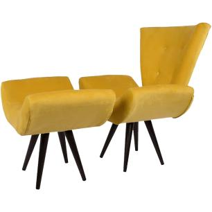 Kit Poltrona e Puff Decorativo Isabella Suede Amarelo