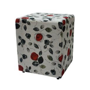 Puff Decorativo Quadrado Rosas 40082