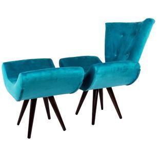 Kit Poltrona e Puff Decorativo Isabella Suede Azul Turquesa
