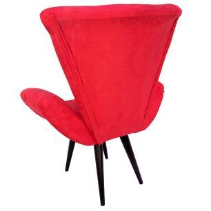 Poltrona Decorativa Isabella Vermelha Pés Palito Imbuia Madeira