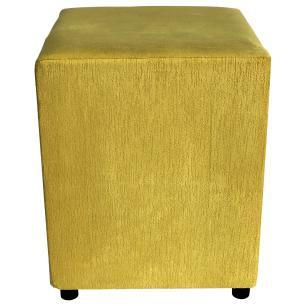 Kit 3 Puffs Decorativos Quadrado Suede Amarelo