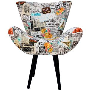 Kit 2 Poltronas Decorativa Isabella Jacquard Jornal 5053-A Pes Palito