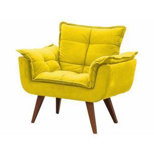 Poltrona Decorativa Opala Amarelo Pés Palito Natural Madeira