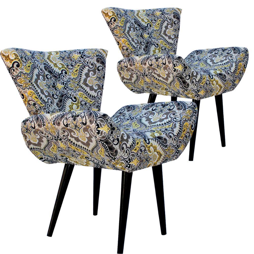 Kit 2 Poltronas Decorativa Isabella Jacquard Estampada Indiana 5473-B Pes Palito