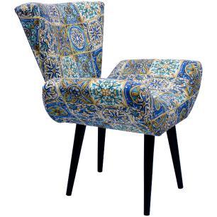 Kit 3 Poltronas Decorativa Isabella Jacquard Estampado Azulejo 5468-A Pes Palito