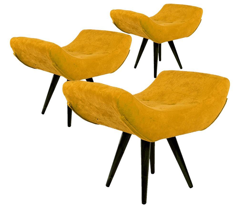 Kit 3 Puffs Decorativo Isabella Suede Amarelo Pés Palito Imbuia Madeira