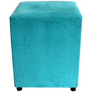 Puff Decorativo Quadrado Suede Azul Turquesa