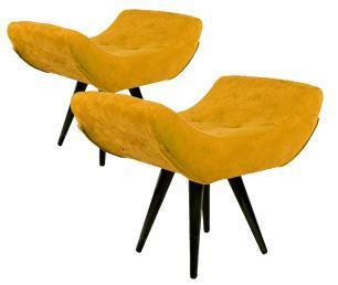 Kit 2 Puffs Decorativo Isabella Suede Amarelo Pés Palito Imbuia Madeira
