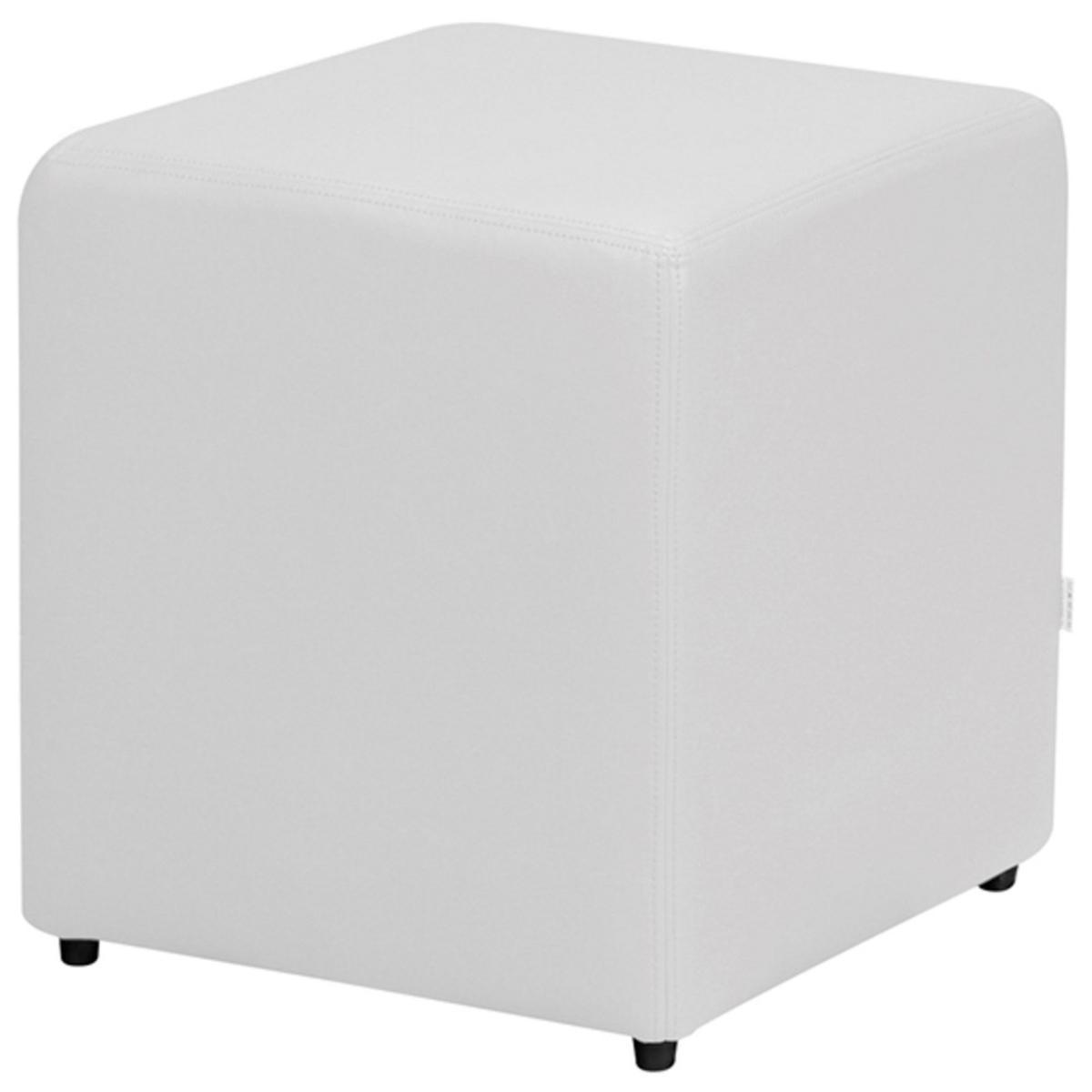 Puff Decorativo Quadrado Corino Branco