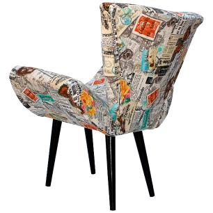 Poltrona Decorativa Isabella Jacquard Jornal 5053-A Pes Palito