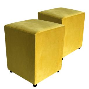 Kit 2 Puffs Decorativos Quadrado Suede Amarelo