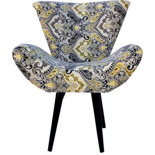 Poltrona Decorativa Isabella Jacquard Estampada Indiana 5473-B Pes Palito