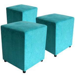 Kit 3 Puffs Decorativo Quadrado Suede Azul Turquesa
