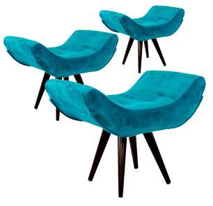 Kit 3 Puffs Decorativo Isabella Suede Azul Turquesa Pés Palito Imbuia Madeira
