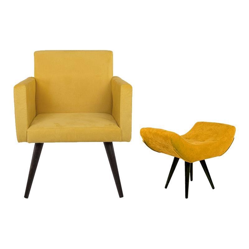Kit Poltrona Heloísa e Puff Isabella Decorativo Amarelo