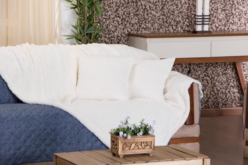 Xale para sofá Sherpa - Imita pele de carneiro