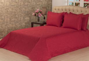 Cobre Leito Casal Padrão Pandora com Porta Travesseiros - Vermelho - 03 Peças