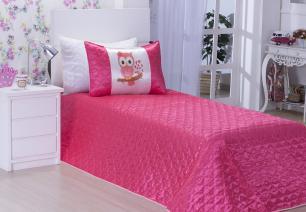 Cobreleito Corujita Solteiro 02 Pçs pink