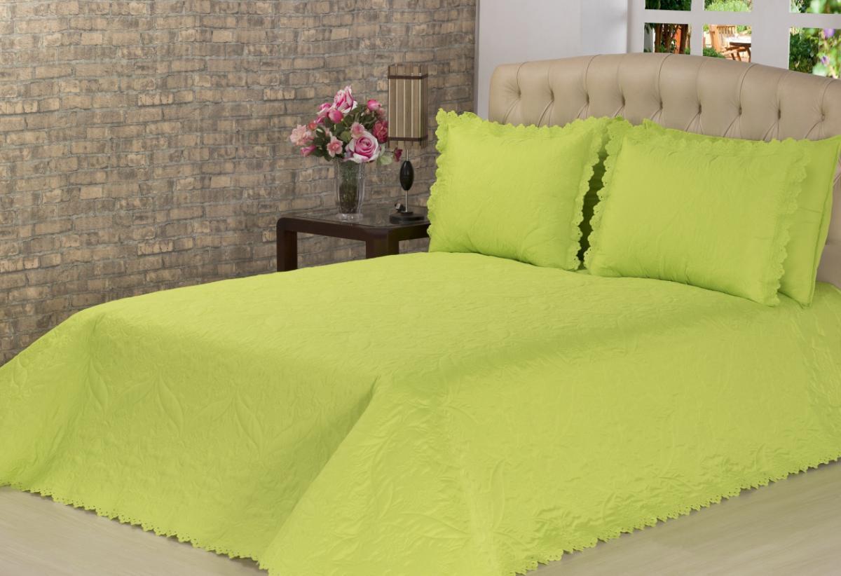 Cobre Leito Casal Padrão Pandora com Porta Travesseiros - Verde - 03 Peças