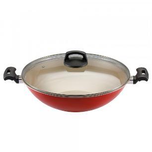Panela Wok 32 Antiaderente Vermelha Premium