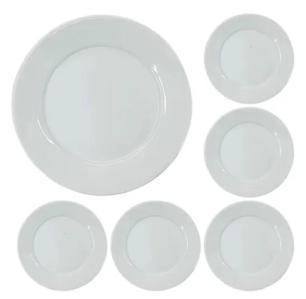 Conjunto de 6 Pratos Raso Porcelana 24,5 cm Bar Hotel Germer