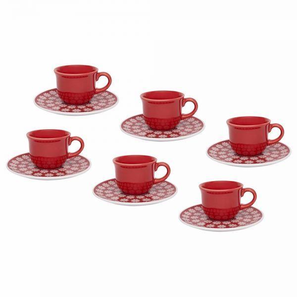 Jogo 6 Xícaras Com Pires Para Café Daily Floreal Renda Oxford