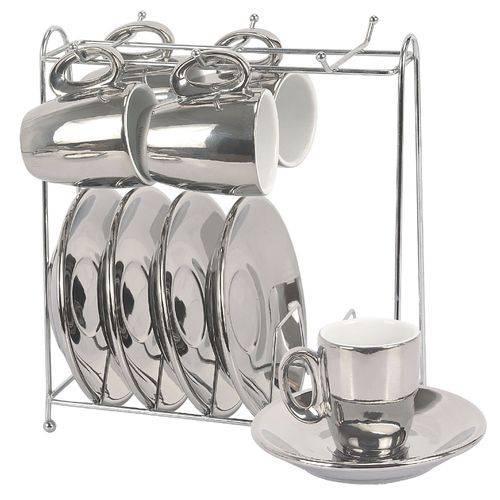 Jogo De 6 Xícaras Para Café Slim Cromada E Branca