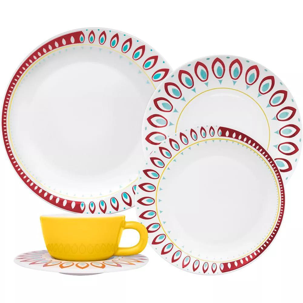 Aparelho de Jantar Redondo de Porcelana 30 peças - Moon Indian Oxford Porcelanas