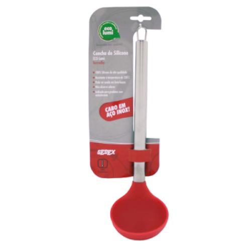 Concha - Silicone Vermelho - Cabo Inox - 36 cm