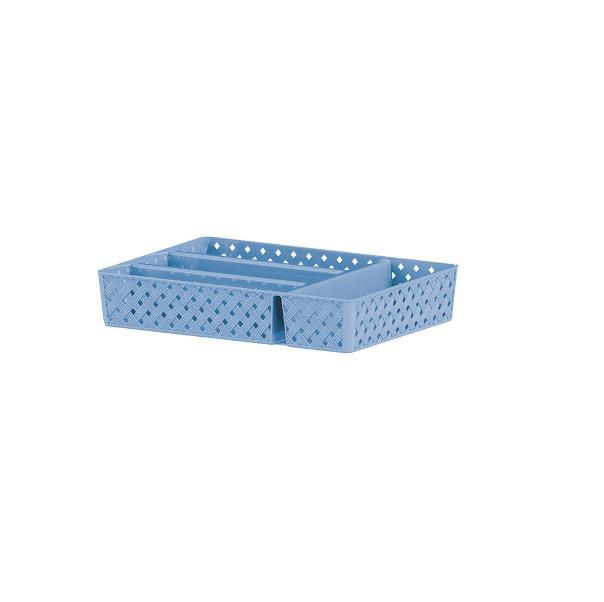 Porta Talheres Com Divisórias Rattan - Azul