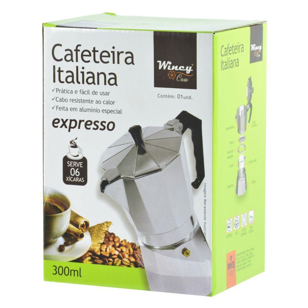 Cafeteira Italiana de Alumínio 300ml Para 6 Xícaras - Wincy