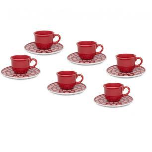 Jogo 6 Xícaras de Café Com Pires Daily Floreal Renda Oxford
