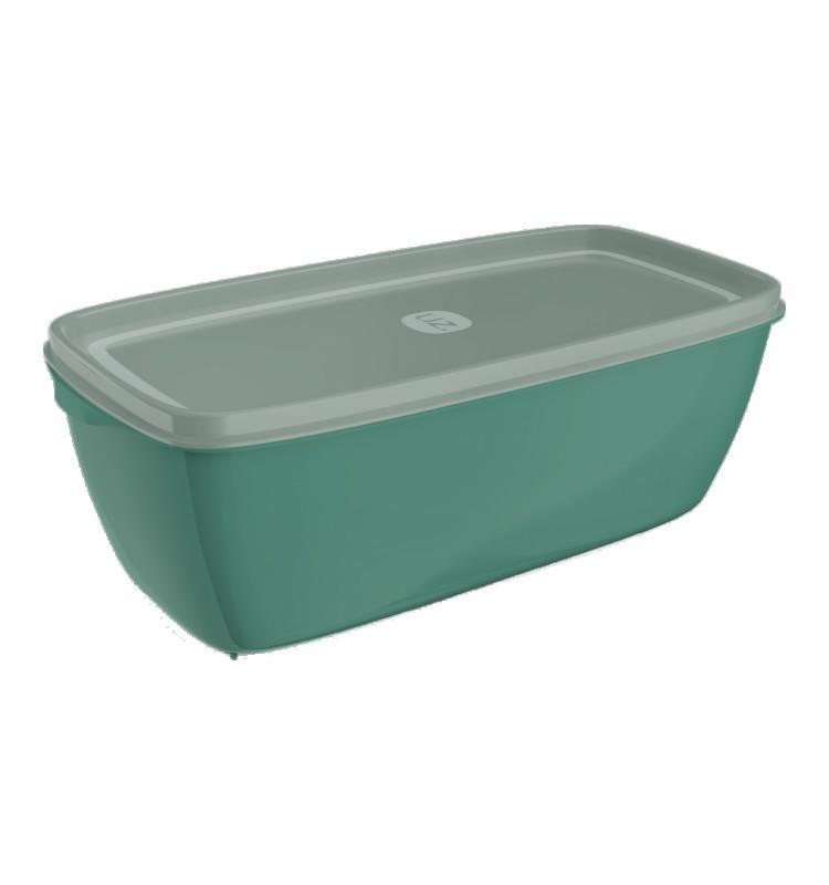 Pote Retangular 3L Verde Água de Plástico - Uz