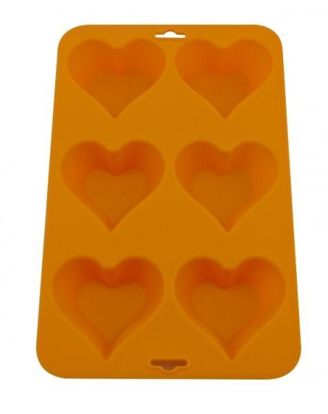 Forma de Silicone Para 6 Cup Cakes Coração Diversas Cores Mimo
