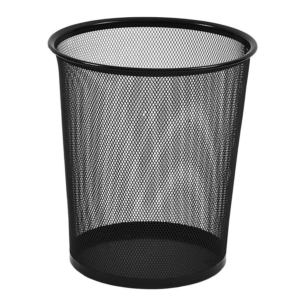 Lixeira Para Escritório Cesto De Lixo Em Aço Telado - Preto