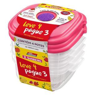 Conjunto de Potes Plásticos L4P3 480ml Sanremo