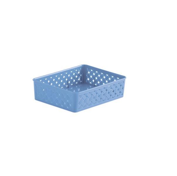 Cesto Organizador Rattan 34x25x6,5cm - Azul